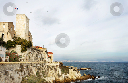 Antibes #109 stock photo, A town overlooking the sea in Antibes, France.  Copy space. by Sean Nel