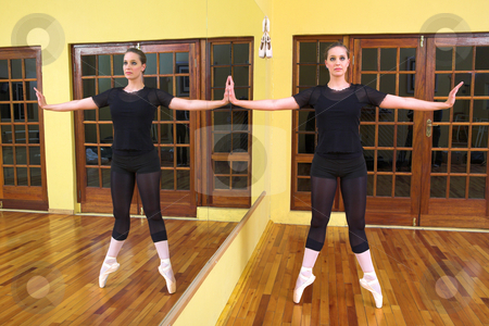 Ballerina #43 stock photo, Ballerina dancing against a mirror by Sean Nel