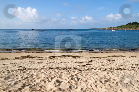 Porthcressa beach and a calm sea, Isles of Scilly, Cornwall UK. stock photo, Porthcressa beach and a calm sea, Isles of Scilly, Cornwall UK. by Stephen Rees