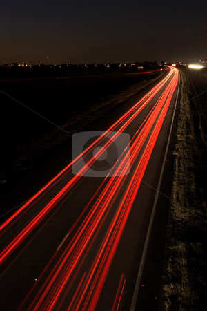 Roads #1 stock photo, Light trails on highway by Sean Nel