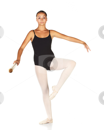 Ballet Steps stock photo, Young caucasian ballerina girl on white background and reflective white floor showing various ballet steps and positions. (Attitude) Develope Devant. Not Isolated. by Sean Nel
