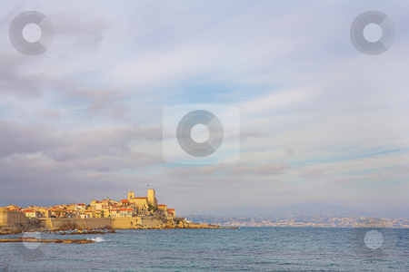 Antibes #90 stock photo, A town overlooking the sea in Antibes, France.  Copy space. by Sean Nel