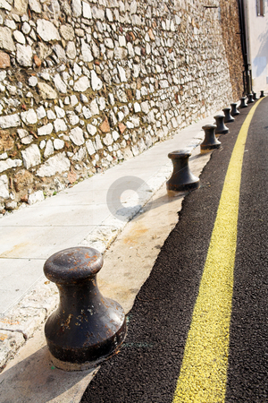 Road Barriers stock photo, Barriers next to the road in Cannes, France by Sean Nel
