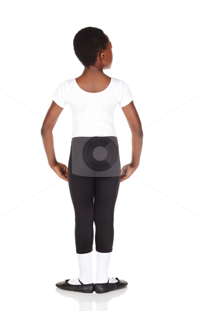 Young Ballet Dancer stock photo, Young African ballet boy on white background and reflective white floor showing various ballet steps and positions. Not Isolated by Sean Nel