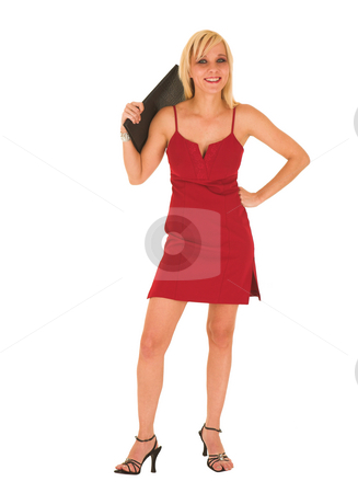 Blonde businesswoman in red dress stock photo, Blond businesswoman in red dress with black leather folder on a white background by Sean Nel