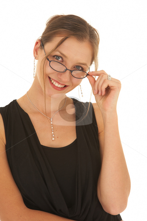 Beautiful Caucasian businesswoman stock photo, Portrait of a beautiful young Caucasian businesswoman with glasses on white background. NOT ISOLATED by Sean Nel