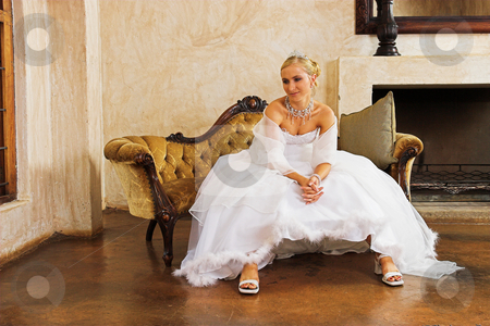 Wedding gown stock photo, Waiting bride by Sean Nel