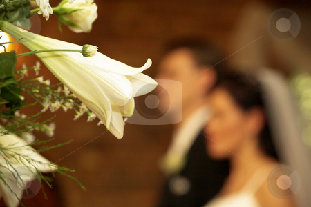 Wedding #39 stock photo, Close-up a bouquet.  Bride and groom in the background.  Shallow D.O.F by Sean Nel