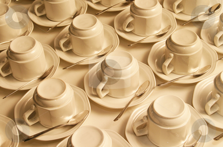 Cups stock photo, Unused cups standing on a table by Sean Nel