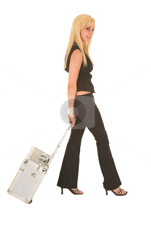 Sexy blonde businesswoman stock photo, Sexy young adult Caucasian businesswoman in black pinstripe pants and suit top on a white background by Sean Nel