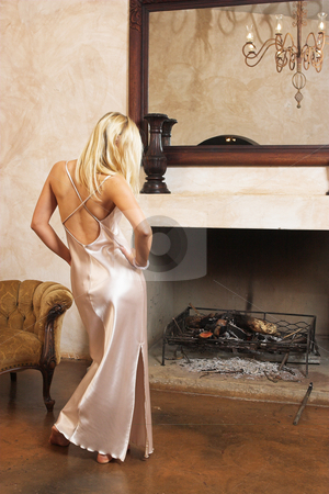 Lingerie #25 stock photo, Blonde woman with bare feet in silk lingerie by Sean Nel