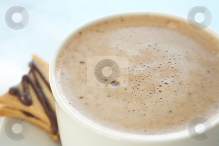 Cafe latte in coffee cup stock photo, Fresh foamy cafe latte in white coffee cup on a silver background with a chocolate biscuit ? Shallow Depth of Field, focus on Foam by Sean Nel