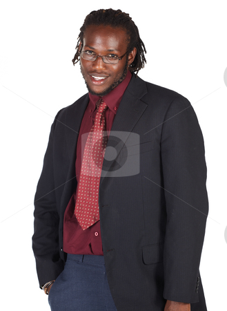 Handsome African businessman stock photo, Handsome African businessman with glasses in black suit on white background. Not isolated by Sean Nel