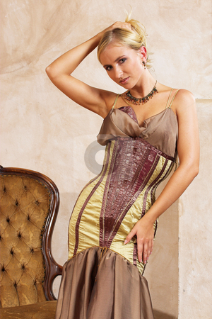 Fashion #4 stock photo, Blonde woman in tight fitting dress by Sean Nel