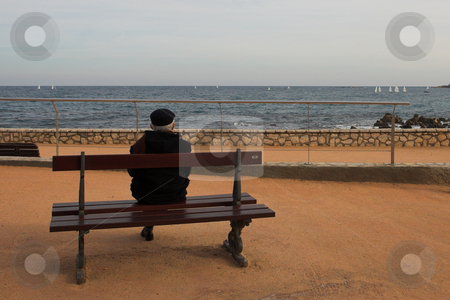 Benchman #05 stock photo, Man on Bench, next to the sea by Sean Nel
