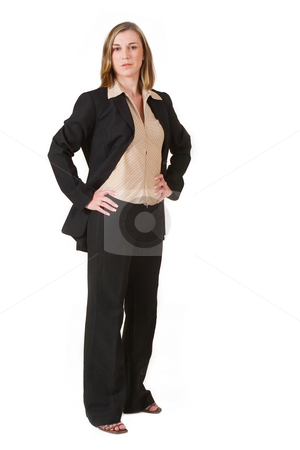 Business Lady #87 stock photo, Business woman in black and brown formal suit - standing by Sean Nel