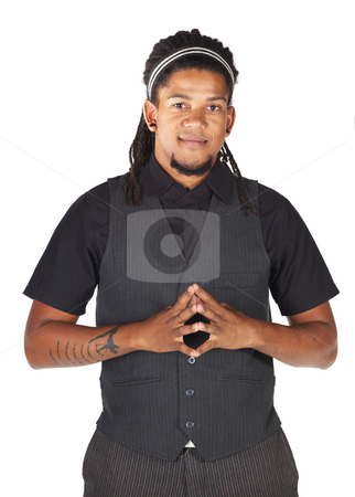 Handsome African businessman stock photo, Handsome African businessman in black suit on white background. Not isolated by Sean Nel
