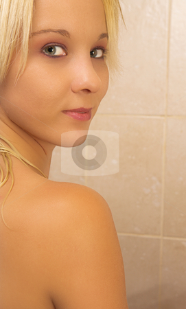 Woman #20 stock photo, Nude woman in a bath.  Copy space. by Sean Nel