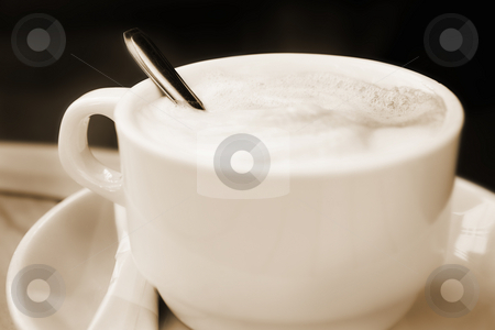 Antibes #161 stock photo, Cappuccino in a cup against a dark background.  Sepia tone.  Digital Artwork.  Shallow D.O.F, by Sean Nel