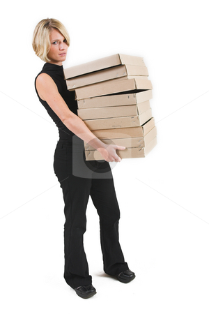 Business Lady #30 stock photo, Blond Business woman carrying boxes by Sean Nel