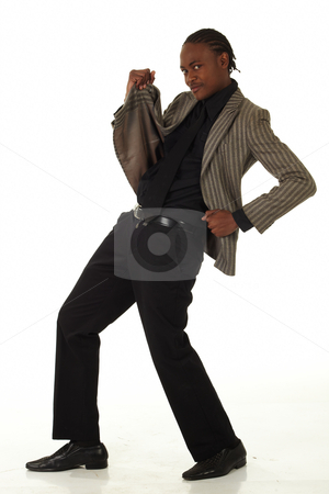 Black Businessman stock photo, Black African businessman on a white background in various positions, stances and with various facial expressions. Part of a series - NOT ISOLATED by Sean Nel