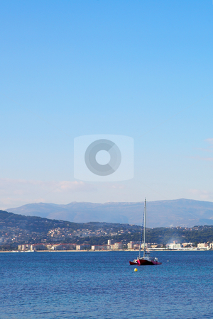 Antibes #272 stock photo, A yacht on the sea  in Antibes, France.    Copy space. by Sean Nel