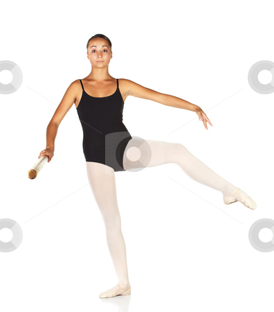 Ballet Steps stock photo, Young caucasian ballerina girl on white background and reflective white floor showing various ballet steps and positions. Retire. Not Isolated. by Sean Nel