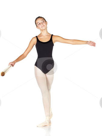 Ballet Steps stock photo, Young caucasian ballerina girl on white background and reflective white floor showing various ballet steps and positions. Pointe Derriere. Not Isolated. by Sean Nel