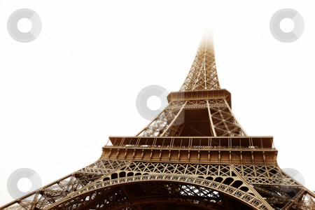 Paris #17 stock photo, The Eiffel Tower in Paris, France.   Sepia tone, Digital artwork. Copy space. by Sean Nel