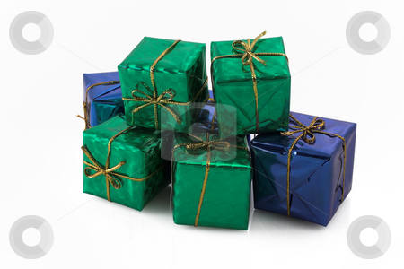 Gift #6 stock photo, Blue and green wrapped gifts with golden ribbon by Sean Nel