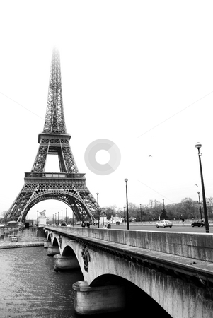 Paris #37 stock photo, The Eiffel Tower in Paris, France.Black and white, Copy space. by Sean Nel