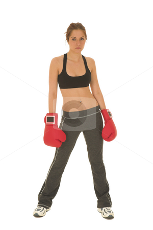 Boxer #15 stock photo, Brunette with red boxing gloves by Sean Nel