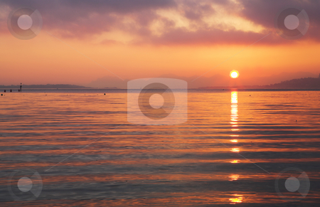 Sunset on the Mediterranean  stock photo, A low sun over the French Mediterranean by Sean Nel