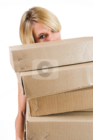 Business Lady #25 stock photo, Blond Business woman carrying boxes by Sean Nel