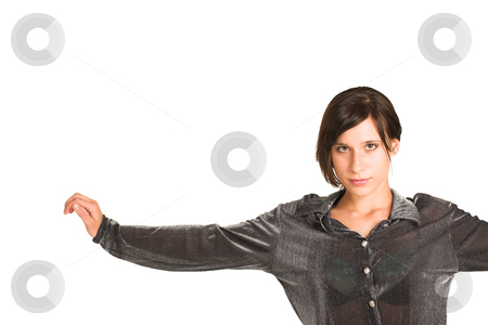 People #24 stock photo, Woman dressed in a smart shirt.  Arms spread open. Copy space. by Sean Nel