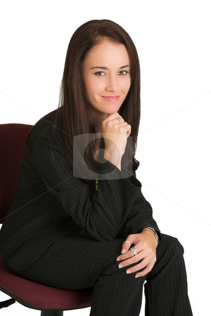 Business woman #540 stock photo, Portrait of a brunette business woman, sitting on an office chair.  Smiling by Sean Nel