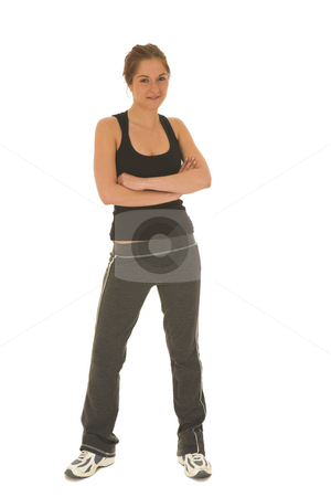 Gymbunny #1 stock photo, Brunette with black top and trainers by Sean Nel