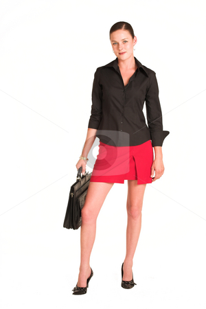Charmaine Shoultz #13 stock photo, Business woman dressed in a black shirt and red skirt.  Holding a leather suitcase by Sean Nel