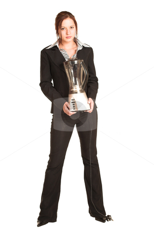 Business Woman #357 stock photo, Business woman with brown hair, dressed in formal suit.  Holding a food blender. by Sean Nel