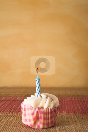 Cupcakes #7 stock photo, One cupcake on pink and brown table cloth in front of  wall - copy space by Sean Nel