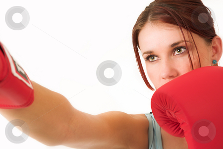 Gym #34 stock photo, A woman in gym clothes, with boxing gloves by Sean Nel