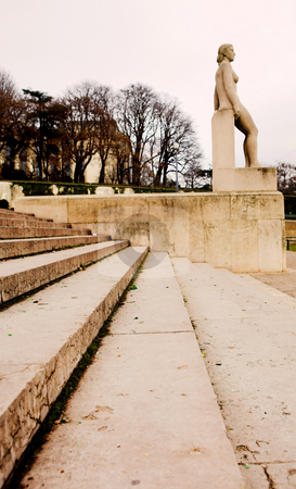 Paris #11 stock photo, Stairs and statue in Paris, France.  Copy space. by Sean Nel