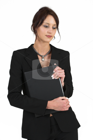 Business Lady #58 stock photo, Business woman with black file by Sean Nel