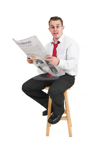 Tollie Booysen #34 stock photo, Businessman in black trousers, white shirt and red tie. Reading newspaper by Sean Nel