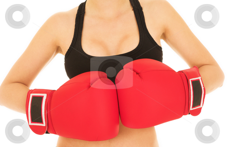 Sexy Caucasian kickboxer woman in gym clothes stock photo, Sexy young adult woman in black gym outfit isolated on white. She is wearing large red boxing gloves by Sean Nel