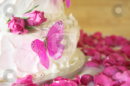 Vanilla wedding cake stock photo, Vanilla wedding cake with white icing, rose petals and pink butterflies by Sean Nel