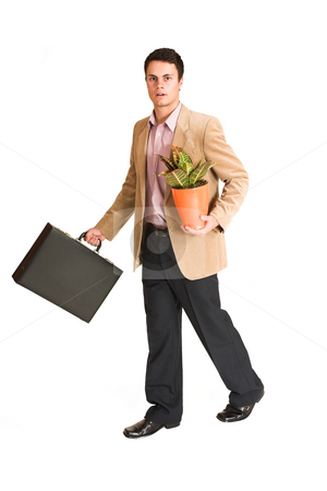Businessman #135 stock photo, Businessman walking, holding a pot plant and leather suitcase. Movement by Sean Nel