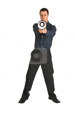 Businessman #217 stock photo, Businessman in a blue shirt, playing with a megaphone as if it is a gun. by Sean Nel