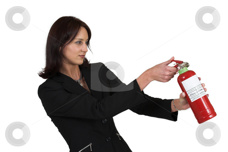 Luzaan Roodt #15 stock photo, Business woman in formal black suit holding fire extinguisher by Sean Nel