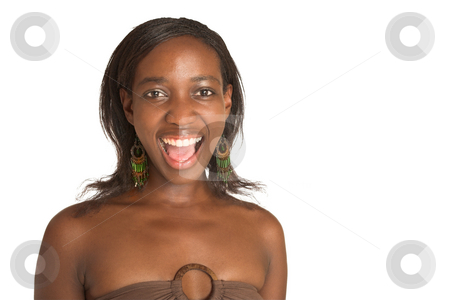 Cynthia Akva #16 stock photo, African business woman dressed in neutral coloured clothes. Laughing with mouth open.  copy space by Sean Nel